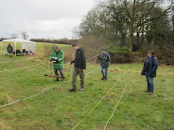 A geophysical survey (earth resistance) at Moistown.